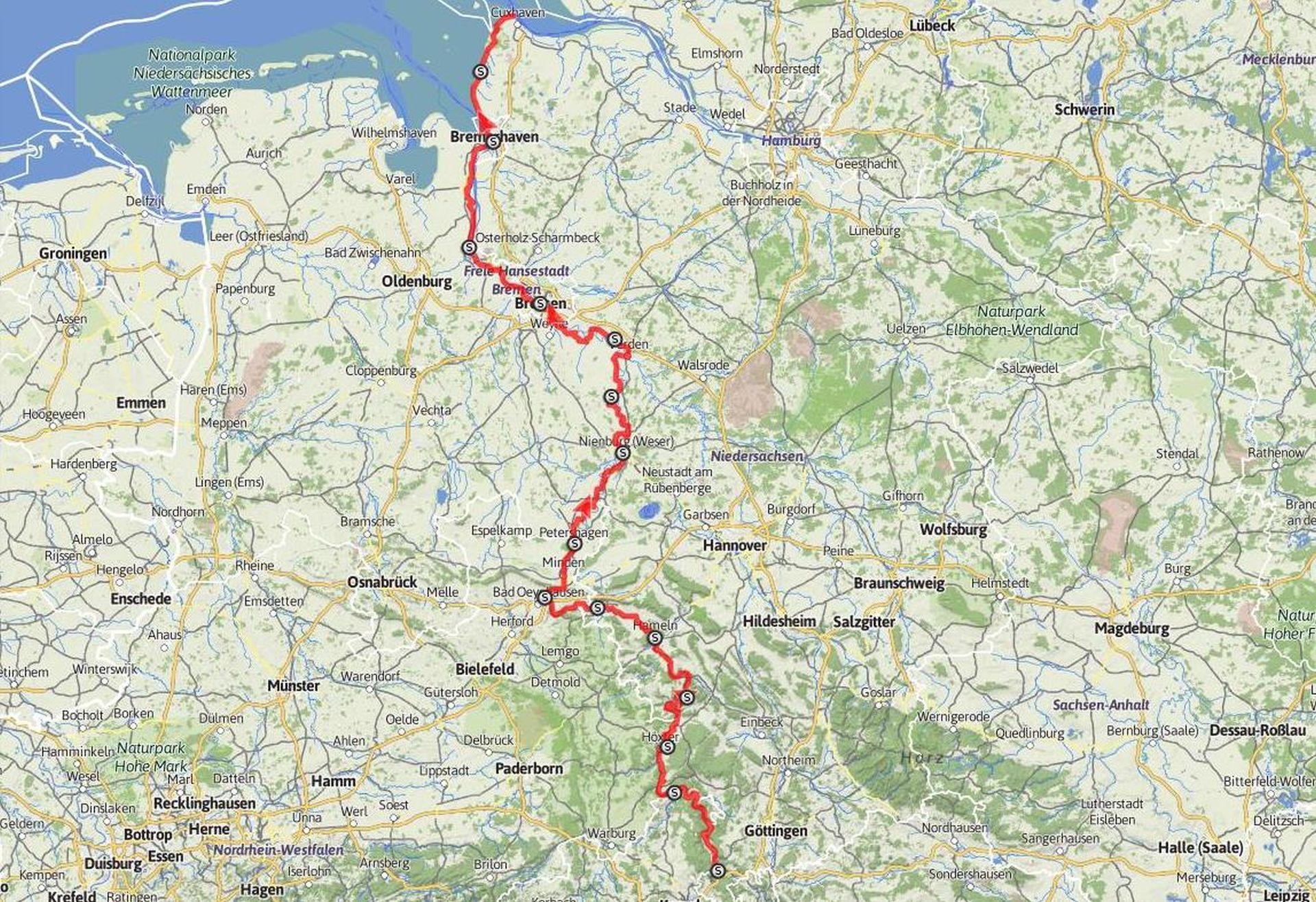 Übersichtskarte Weser-Radweg